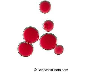 bulles, rouges