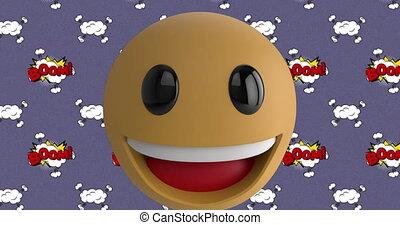 bulles, smiley, fond, figure, emoji, sur, texte, pourpre, contre, parole, boom