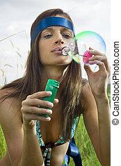 bulles, souffler, savon, hippy