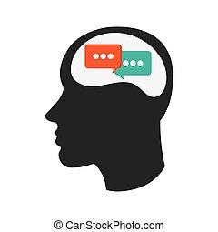 bulles, tête, icône, conversation