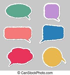 bulles, vecteur, coloré, ensemble, parole