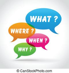 bulles, vecteur, parole, coloré, questions