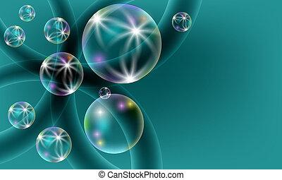 bulles, vert, transparent, fond