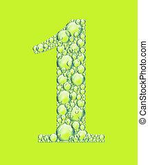 bulles, vert, une