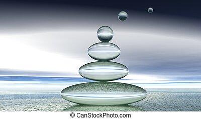 bulles, zen, transparent