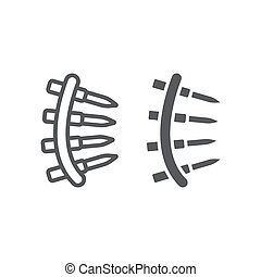 Bullet belt line and glyph icon, army and military, machine gun belt sign, vector graphics, a linear pattern on a white background.