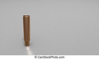 Bullet case - 3d animation, empty bullet cases dropping to...