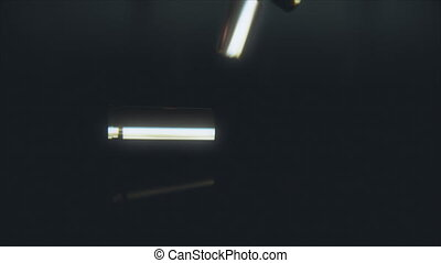 Bullet casings hit the floor in slow motion.