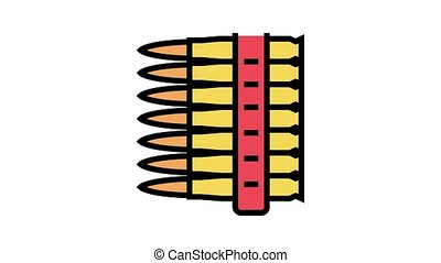 bullet clip animated color icon. bullet clip sign. isolated on white background