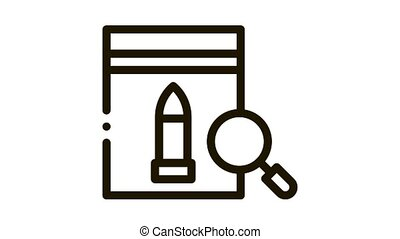 Bullet Evidence Poly Bag Icon Animation. black Bullet Evidence Poly Bag animated icon on white background
