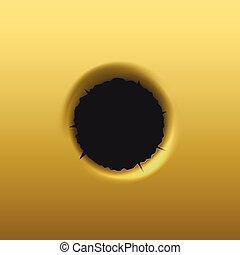 Bullet hole in golden background