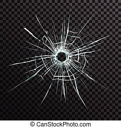 Bullet Hole In Transparent Glass - Bullet hole in...