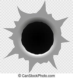 Bullet hole isolated.