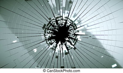 Bullet hole: Shattered glass slowmo