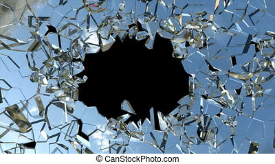 Bullet hole: Shattered glass slowmo - Bullet hole: Shattered...