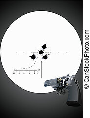 Bullet holes in the background of a revolver with unfolded ...