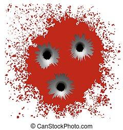 Bullet Holes on Red Blood Splatter Background
