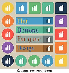 bullet Icon sign. Set of twenty colored flat, round, square and rectangular buttons. Vector