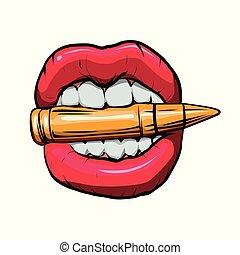 bullet in mouth. vector illustration.