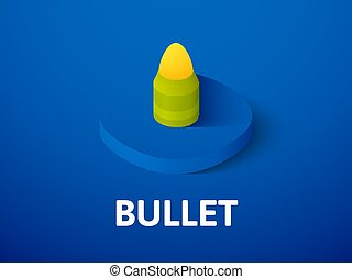 Bullet isometric icon, isolated on color background
