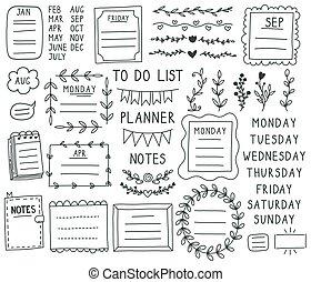 Bullet journal elements. Hand drawn doodle notebook bullets, notebook, schedule calendar. Doodle bullet journal paper frames vector illustration set