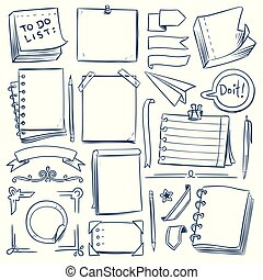 Bullet journal sketch elements. Notebook, girly diary and paper frames. Hand drawn vintage labels and banners. Vector doodle set
