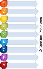 Bullet List Nine blank business diagram illustration - Blank...