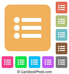 Bullet list rounded square flat icons