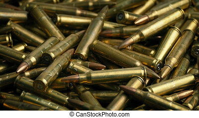 Bullet Pile Rotating - Macro shot of many bullets turning...