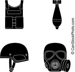 Bullet-proof vest, mine, helmet, gas mask. Military and army set collection icons in black style vector symbol stock illustration web.