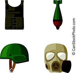 Bullet-proof vest, mine, helmet, gas mask. Military and army set collection icons in cartoon style vector symbol stock illustration web.