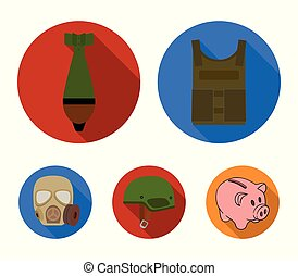 Bullet-proof vest, mine, helmet, gas mask. Military and army set collection icons in flat style vector symbol stock illustration web.