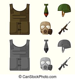 Bullet-proof vest, mine, helmet, gas mask. Military and army set collection icons in cartoon,monochrome style vector symbol stock illustration web.
