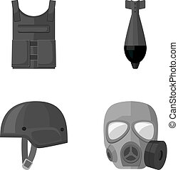 Bullet-proof vest, mine, helmet, gas mask. Military and army set collection icons in monochrome style vector symbol stock illustration web.