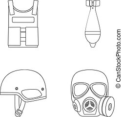 Bullet-proof vest, mine, helmet, gas mask. Military and army set collection icons in outline style vector symbol stock illustration web.