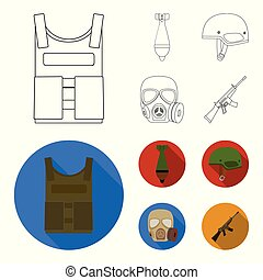 Bullet-proof vest, mine, helmet, gas mask. Military and army set collection icons in outline,flat style vector symbol stock illustration web.