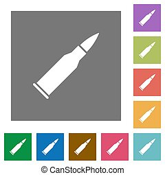 Bullet rifle ammo square flat icons