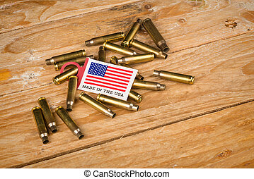 Bullet shells and US flag