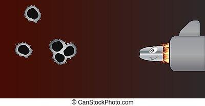 bullet., wektor, strzał, illustration., armata