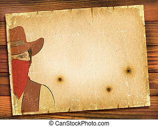bullete, viejo, cartel, imagen, bandido, papel, plano de...
