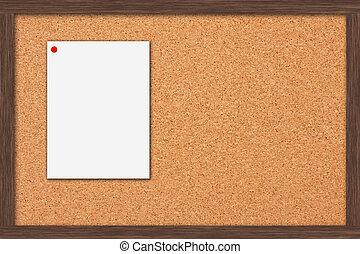 Bulletin Board - A cork bulletin board with a wooden frame,...