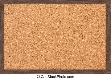 A cork bulletin board with a wooden frame, bulletin board