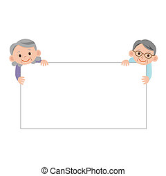 Bulletin board and elderly couple