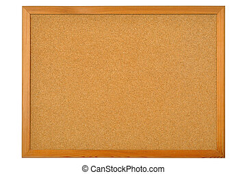 Cork bulletin board isolated on white background