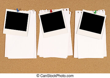 Cork notice or bulletin board with three blank instant camera photo prints and several sheets of untidy torn notepaper. Space for copy.