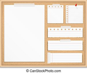 Bulletin Board - Bulletin board with paper attached by tape...