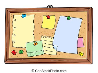 Bulletin board on white background - isolated illustration.