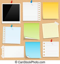 Paper notes, sticky papers an photo frames on bulletin board, vector eps10 illustration