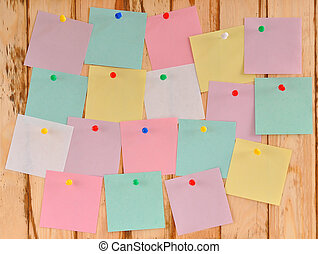 bulletin board with colored stickers