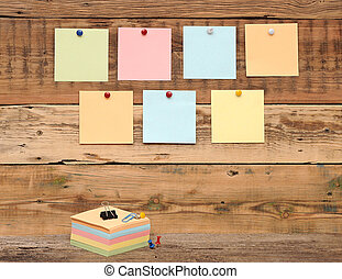 bulletin board with colorful note papers